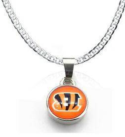 Cincinnati Bengals 925 Silver Curb Link Chain Necklace And P