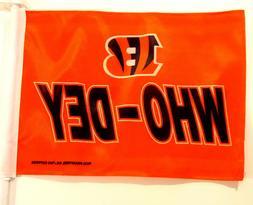 """Cincinnati Bengals Car Flag """"Who Dey"""""""