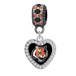 Cincinnati Bengals Crystal Heart Charm