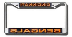 Cincinnati Bengals LASER FRAME Chrome Metal License Plate Co