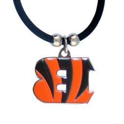 Cincinnati Bengals Necklace Black Rubber Cord Large Metal Pe