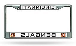 Cincinnati Bengals New Des Chrome Frame Metal License Plate