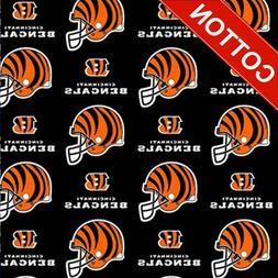 "Cincinnati Bengals NFL Cotton Fabric - 60"" Wide - Style# 622"