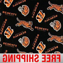 """Cincinnati Bengals NFL Fleece Fabric - 60"""" Wide - Style# 624"""