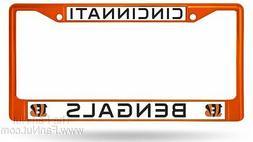 Cincinnati Bengals ORANGE Frame Metal Chrome License Plate T
