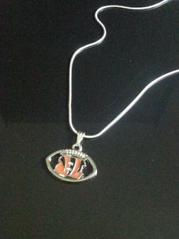 Cincinnati Bengals Necklace Pendant on Sterling Silver Chain