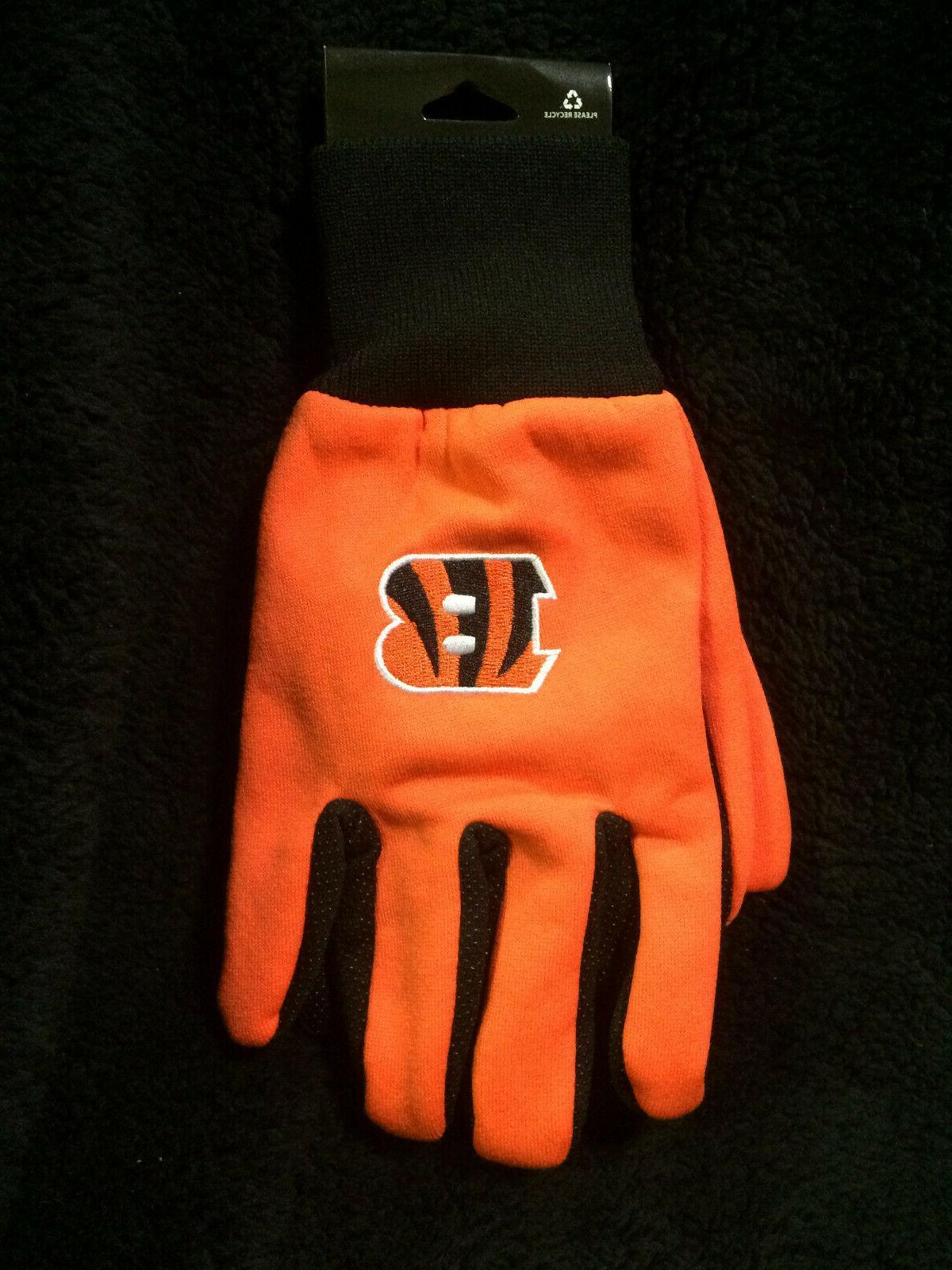 cincinnati bengals orange b utility gloves tufted