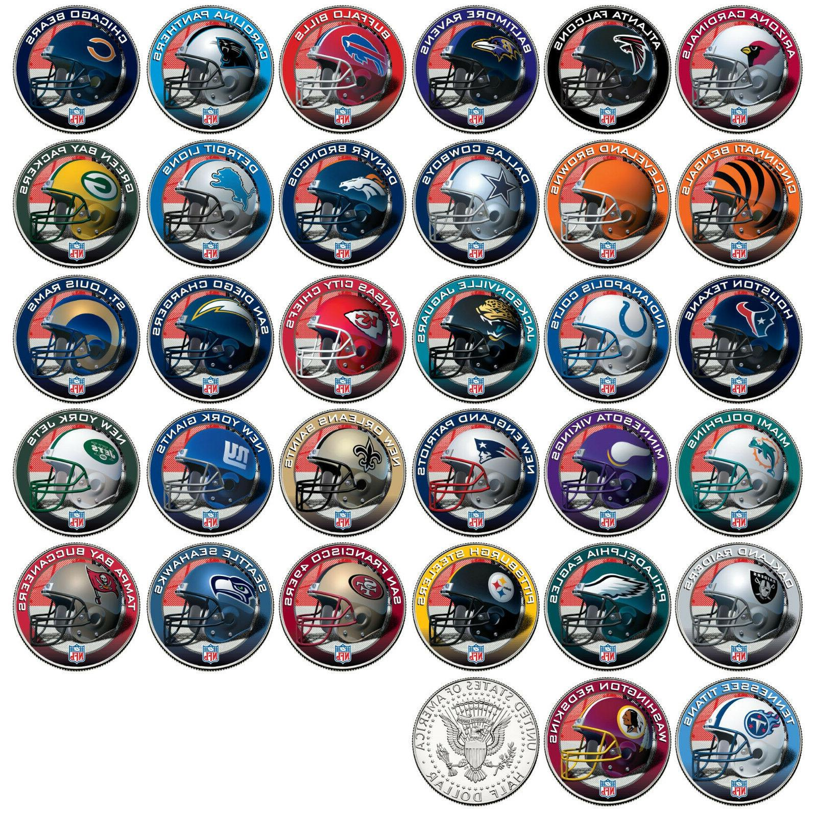 nfl helmet logos jfk half dollar us