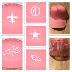 NFL Pink Trucker Hat Custom Pick Your Team Breast Cancer Ste