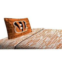 NEW NFL Cincinnati Bengals 3 PC Bed Twin Sheet Set with One