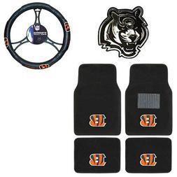 New NFL Cincinnati Bengals Car Truck Floor Mats Steering Whe