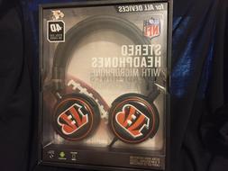 NFL CINCINNATI BENGALS Mizco 4D Steel Cut Logo STEREO HEADPH