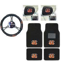 NFL Cincinnati Bengals Car Truck Floor Mats Headrest Covers