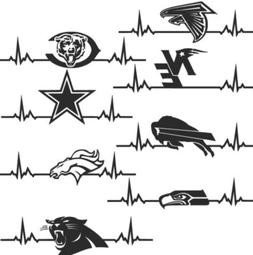 NFL EKG Car Truck Window Decal Every Team Multiple Colors