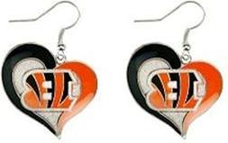 Aminco NFL Heart Swirl Dangling Earrings Cincinnati Bengals