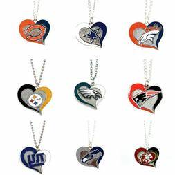 NFL Swirl Heart Team Necklace - Pick Your Team